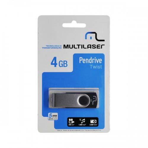 Pendrive Multilaser TWIST Preto 4GB - PD586